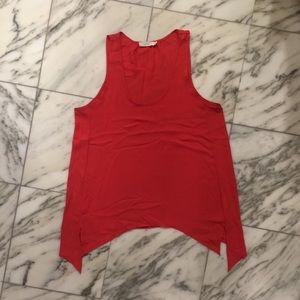 Lush Split Hem Tank Top, Orange Red, Size XS